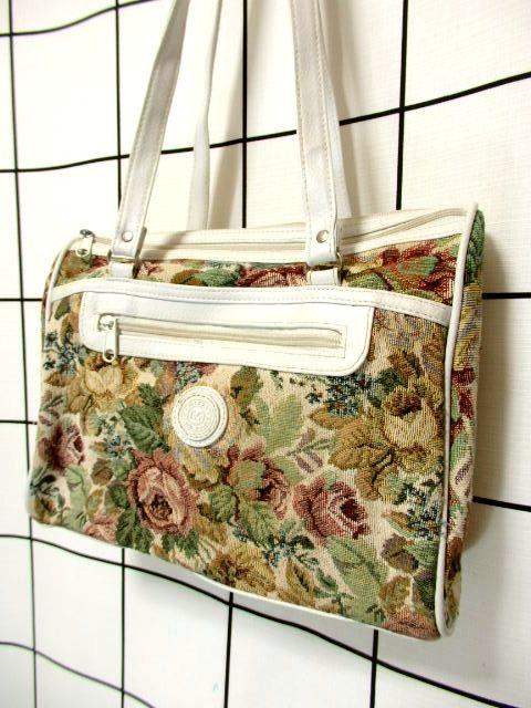画像1: ゴブラン 花模様 マルチカラー レディース ヨーロッパ クラシカル ヴィンテージ ショルダー 鞄 バッグ【7102】 (1)