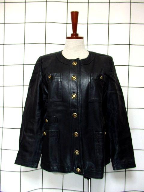 画像1: 本革レザー ブラック ノーカラー レトロ ヨーロッパ古着 ヴィンテージジャケット【2824】 (1)