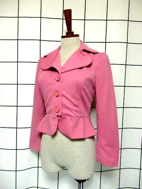 画像1: ペプラムデザイン 大きな襟 ピンク レトロ ヨーロッパ古着 長袖 ヴィンテージジャケット【3618】 (1)