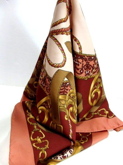 画像1: レトロアンティーク ヴィンテージスカーフ ヨーロッパ【7130】 (1)
