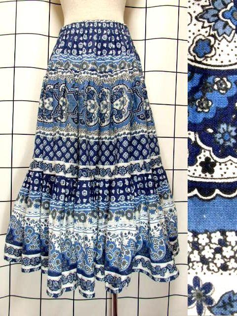 画像1: フォークロア ネイビー ブルー ホワイト ウエストゴム レトロ ヨーロッパ古着 ヴィンテージプロバンススカート 【7137】 (1)