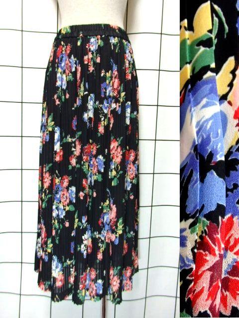 画像1: プリーツ 花柄 ブラック ウエストゴム レトロ ヨーロッパ古着 ヴィンテージスカート【7186】 (1)