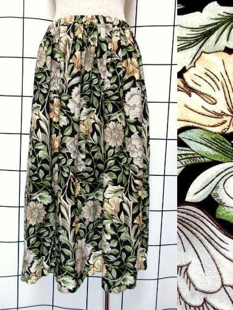 画像1: ボタニカル 花柄 ブラック ウエストゴム レトロ USA古着 ヴィンテージスカート【7376】 (1)