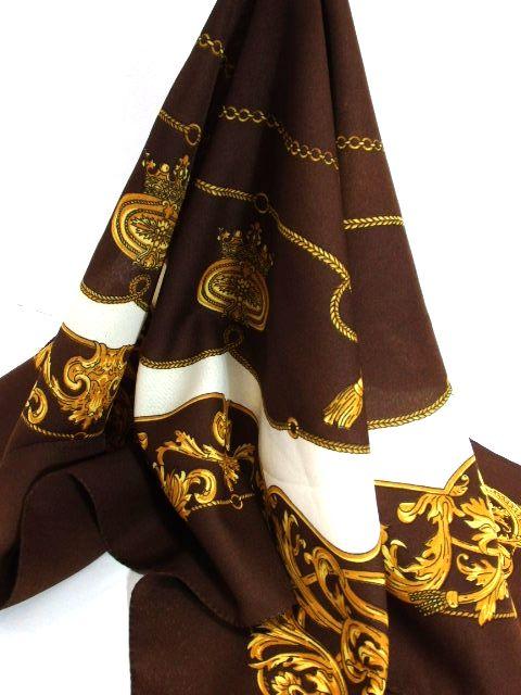 画像1: レトロアンティーク ヴィンテージスカーフ ヨーロッパ ブラウン Italy【7455】 (1)