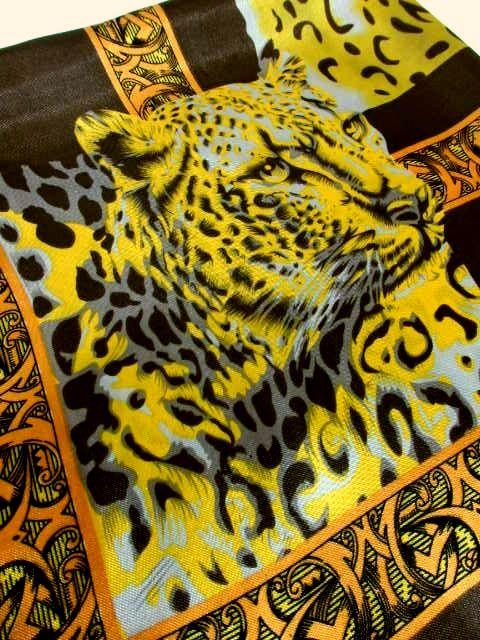 画像1: レトロアンティーク ヴィンテージスカーフ ヒョウ柄 豹柄  ヨーロッパ【7480】 (1)