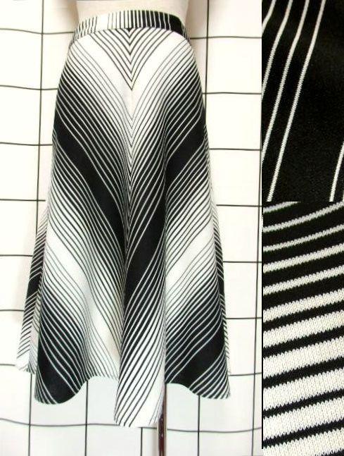 画像1: 斜めストライプ柄 ブラック 黒 ホワイト モノクロ レトロ ヨーロッパ古着 ヴィンテージスカート【7508】 (1)