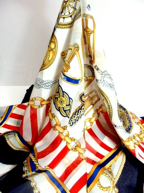 画像1: レトロアンティーク ヴィンテージスカーフ ヨーロッパ マリン ネイビー ホワイト【7527】 (1)