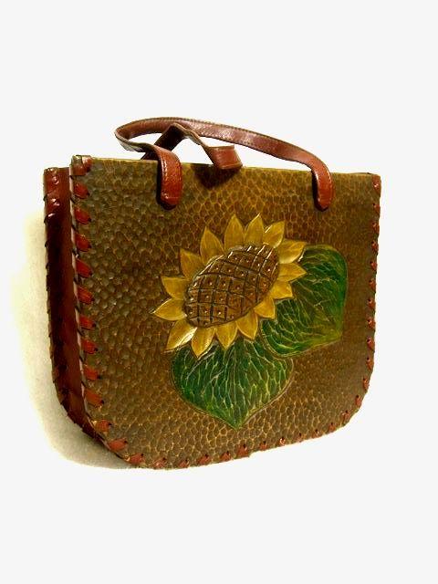画像1: ウッド素材 お花彫り レディース レトロ ハンド 鞄 バッグ【1229】 (1)